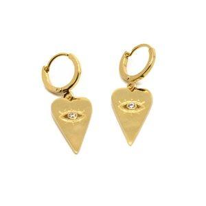 Jewelry - Gold Evil Eye Heart Lever Hoops